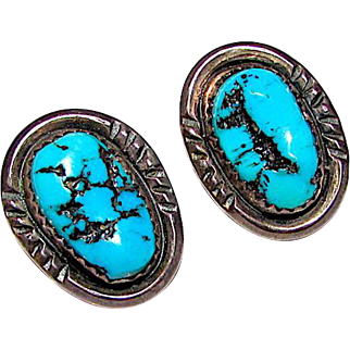 Old Pawn Navajo Sterling Silver Kingman Mine Turquoise Clip On Earrings