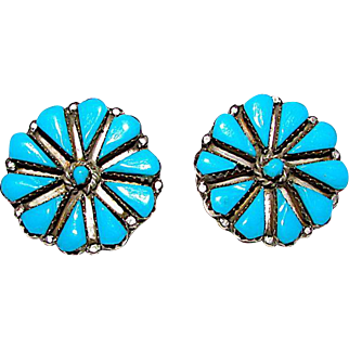 Vintage Old Pawn Native American Zuni Sterling Silver Turquoise Rosette Cluster Clip On Statement Earrings