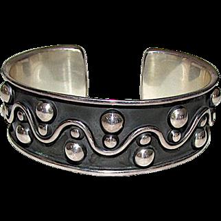 Designer Brenda Shoenfeld Sterling Silver 925 Statement Cuff Bracelet Vintage Sterling Designer Bracelet 40 gr
