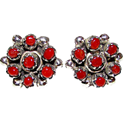 Vintage Old Pawn Native American Zuni Sterling Silver Mediterranean Coral Rosette Cluster Pierced Earrings Snake Eye Design