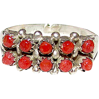 Vintage Old Pawn Native American Zuni Sterling Silver Mediterranean Coral Rosette Cluster Ring Size 7 Snake Eye Design