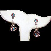 Native American Zuni Sterling Silver Turquoise Coral MOP Jet Sunface Design Pierced Dangle Earrings