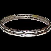 Taxco Eagle Mark Mexican Sterling Silver 925 Bangle Bracelets Set of 2 Tribal Design