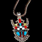 Vintage Zuni Shalako Kachina Sterling Turquoise Coral MOP Jet Pendant Necklace