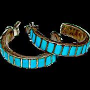 "Native American Zuni Sterling Silver Turquoise Pierced 1"" Hoop Earrings"