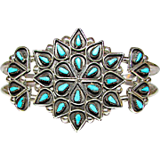 Vintage Native American Zuni Sterling Silver Sleeping Beauty Turquoise Cluster Rosette Statement Cuff Bracelet Petit Point Design Signed
