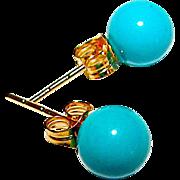 14K Gold 5mm Turquoise Post Earrings Fine Estate Jewelry