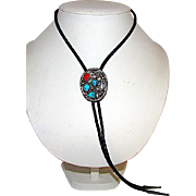 Navajo Jimmy Patterson Bolo Tie Sterling Silver Turquoise Coral Squash Blossom Design Vintage Old Pawn