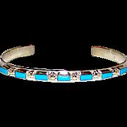 Vintage Zuni Sterling Silver Turquoise Cuff Bracelet Vintage Hand Etched Tribal Design Native American Bracelet