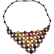 Deco Sterling Silver 925 Natural Amber Statement Bib Necklace Cognac Color Amber, Green Amber, Butterscotch Amber 925 Necklace 35gr