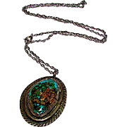 Vintage Old Pawn Native American Navajo Sterling Silver Cerrillos Mine Turquoise Traditional Design Statement Necklace 20gr Rare