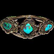 Old Pawn Navajo Sterling Silver Kingman Mine Turquoise Cuff Bracelet Native American Vintage Cuff Bracelet 35gr