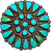 Vintage Navajo Sterling Silver Turquoise Rosette Cluster Brooch Pin Pendant by Collectible Jerome Begay Signed Native American Jewelry