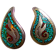 Native American Navajo Turquoise Coral Chip Inlay Pierced Earrings Tribal Design