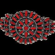 Vintage Native American Zuni Sterling Silver Mediterranean Coral Cluster Rosette Statement Cuff Bracelet Signed