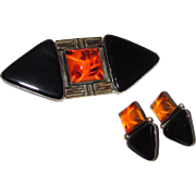 Navajo Kee Nataani Sterling Silver 925 Amber Jet Brooch Earrings Set Contemporary Mod Design Native American Collector Piece