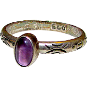 Deco Sterling Silver 925 Amethyst Solitaire Ring Size 6.5
