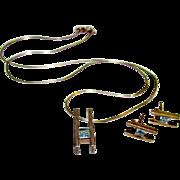 Vintage MOD Sterling Silver 925 Blue Topaz Designer Earrings and Necklace Set