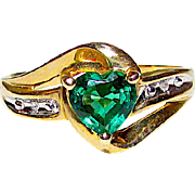 10K Yellow Gold Emerald Heart Shaped Solitaire Cocktail Ring Diamond Accents Size 7 Fine Estate Mid Century Jewelry