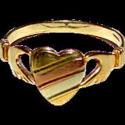 10K Yellow Gold Irish Claddagh Heart Ring Size 8 Fine Estate Mid Century Jewelry