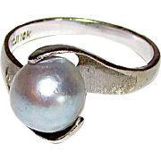 Vintage Designer Cultured Silver Tahitian Pearl 10K White Gold Cocktail Ring Size 7 Fine Estate Jewelry 9-10mm Tahitian Pearl Ring by TCJI Town and Country Jewelry William Massey