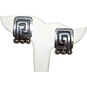 Fine Taxco Jose Luis Flores Vintage Mexican Sterling Silver 925 Clip On Statement  Earrings