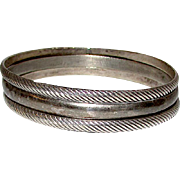 Taxco Mexican Sterling Silver 925 Bangle Bracelets Set of 3