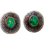 Vintage Navajo Sterling Silver Green Carico Lake Turquoise Pierced Post Earrings Concho Design