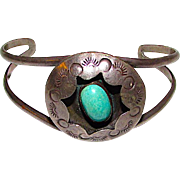 Native American Navajo Sterling Silver 925 Turquoise Cuff Bracelet Shadow Box Design Old Pawn Navajo Bracelet