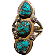 Old Pawn Navajo Sterling Kingman Mine Turquoise Ring Size 8