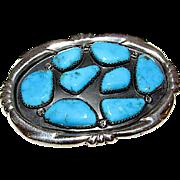 Vintage Navajo W Iule Sterling Silver Turquoise Belt Buckle Signed 45gr
