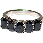 Vintage Deco Sterling Silver 925 Sapphire Cocktail Ring Size 8