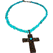 Vintage Mexican Sterling Silver Turquoise Pre Eagle Cross Pendant Necklace