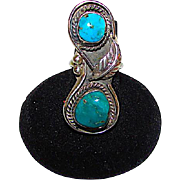 Old Pawn Navajo Sterling Silver Turquoise Statement Ring Size 6 Squash Blossom Design