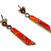 Native American Navajo Sterling Silver Orange Spiny Oyster Earrings Pierced Dangle Earrings by Collectible Alvin Begay