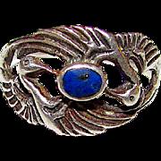 Vintage Art Nouveau Sterling Silver Lapis Lazuli Dancing Cranes Ring Size 7