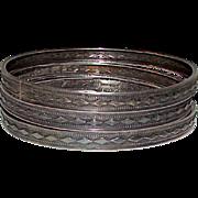 Vintage Deco Sterling Silver 925 Bangle Bracelets Set of 3