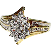 Vintage 18K Gold Over 925 Sterling Silver Vermeil Diamond Cluster Ring Size 7