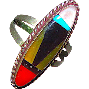 Vintage Native American Zuni Sterling Silver Turquoise Coral Mop Jet Inlay Ring in Size 7