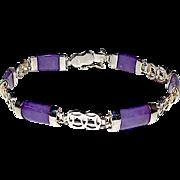 Purple Lavender Jade Jadeite Sterling Silver 925 Link Bracelet