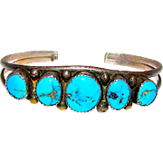Old Pawn Navajo Sterling Silver Kingman Turquoise Cuff Bracelet Native American