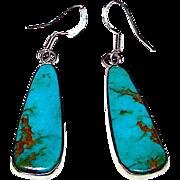 Vintage Native American Navajo Sterling Silver Bisbee Mine Turquoise Pierced Dangle Statement Earrings by Benjamin Piaso