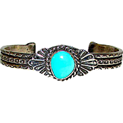 Navajo Sand Cast Sterling Silver Turquoise Cuff Bracelet Native American Signed Bracelet  35gr by the Highly Collectible Artist Eugene Hale