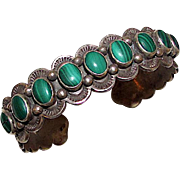 Native American Navajo Gilbert Adakai Sterling Silver Malachite Cuff Bracelet 45gr