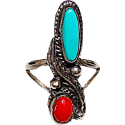 Navajo Old Pawn Native American Sterling Silver Turquoise Coral Ring Size 5.5 Squash Blossom Design