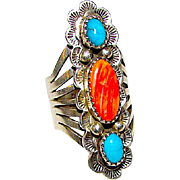 Vintage Navajo Sterling Silver Turquoise Spiny Oyster Statement  Ring Size 8