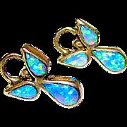 Vintage Zuni Sterling Silver Fire Opal Inlay Butterfly Pierced Post Earrings