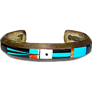 Old Pawn Zuni Sterling Silver Turquoise Coral Jet God's Eye Design Mosaic Inlay Cuff Bracelet