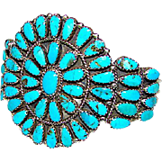 Vintage Native American Navajo Sterling Silver Turquoise Cluster Rosette Statement Cuff Bracelet by Highly Collectible Larry Moses Begay