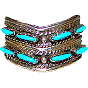 Native American Old Pawn Zuni Sterling Silver Sleeping Beauty Mine Turquoise Ring Size 9